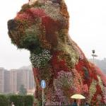تزیین گلها به شکل سگ